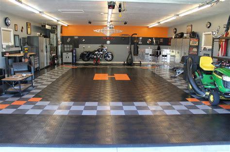 Harley Davidson Garage by Racedeck Garage Floor Makes This Harley Davidson Garage