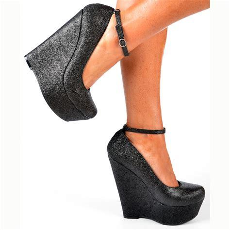 onlineshoe black glitter wedge platform shoes ankle