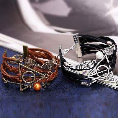 Terlaris Kalung Korean Vintage Wing Pendant Pu Leather Necklace Bronze harry potter deathly hallows leather bracelet harry potter stuff bracelets