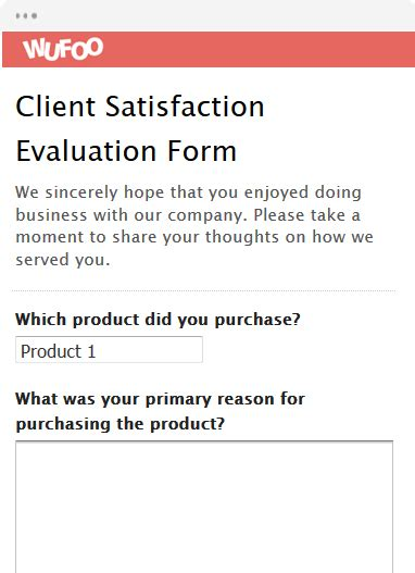 client evaluation form template form template wufoo