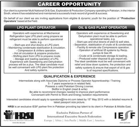 Gas Plant Operator Sle Resume by Multi National Gas Exploration Production Company Requires Production Operators In Sindh