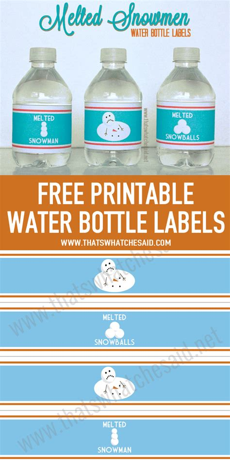 printable drink labels melted snowman water bottle labels www imgkid com the