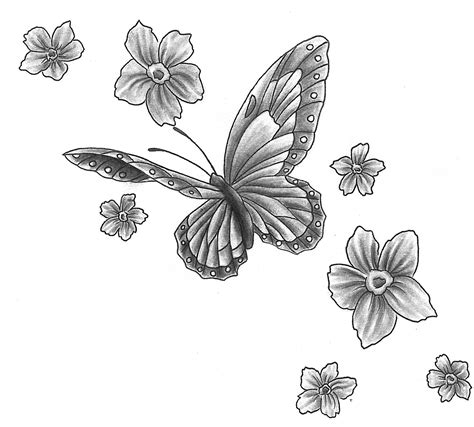 butterfly with flower tattoo designs flower images designs