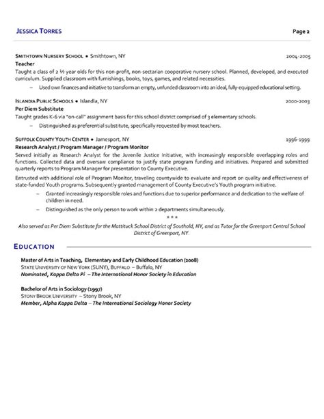 School Resume Description Substitute School Resume Exle Torres