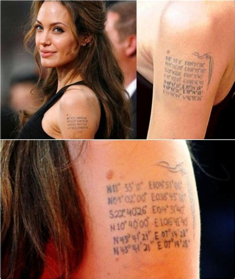 angelina jolie geographical coordinates tattoo the deep meaning behind 12 of angelina jolie s ink ritely