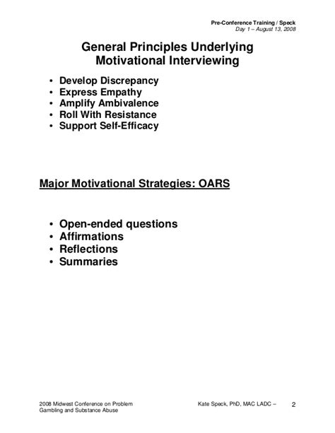 Motivational Interviewing Worksheets by Motivational Interviewing Handout