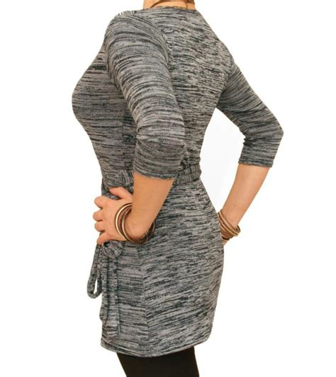 wrap knit top just blue grey marl knitted wrap top