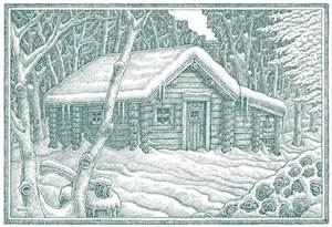 log cabin with greeting cards
