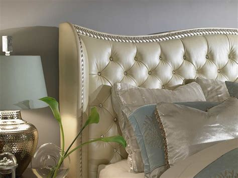 michael amini hollywood swank bedroom hollywood swank cream pearl platform bed by aico aico