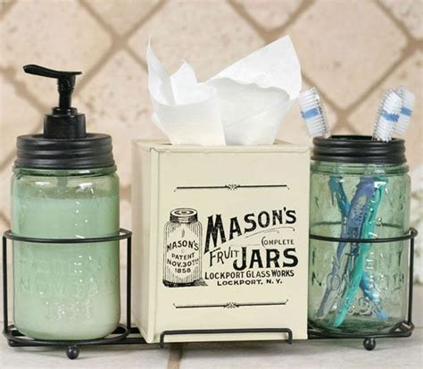 country primitive jar caddy bathroom set soap