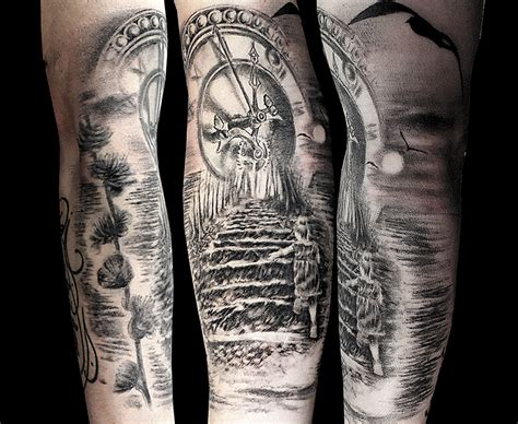 little clock stairs tattoo by facundo pereyra on