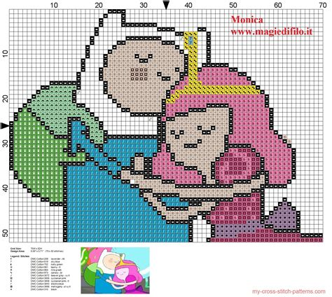pattern hora html finn with princess bubblegum adventure time cross stitch