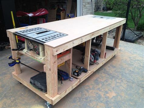 workshop table layout garage workbench plans pdf workbenches pinterest