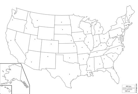 united states map and capitals blank map with states and capitals