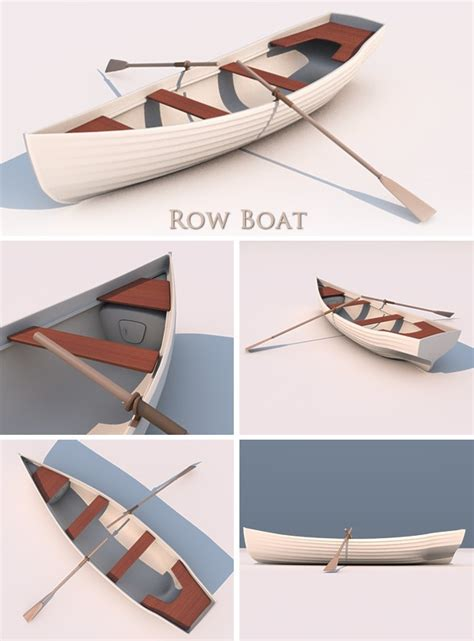 3d Model Papercraft - 3docean 3d row boat 3121977 paper craft d