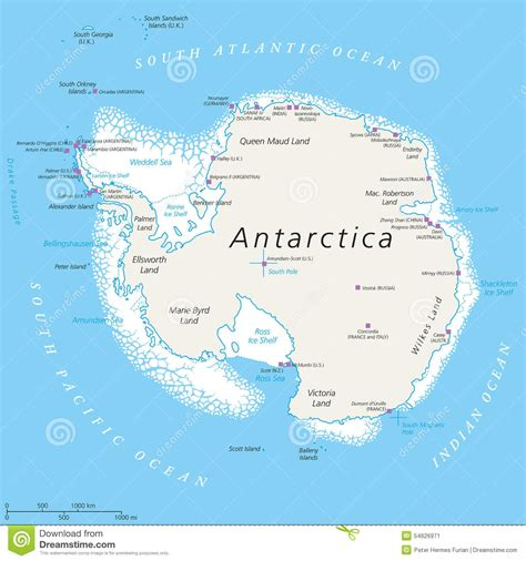 antarctica political map antarctica political map stock vector image 54626971