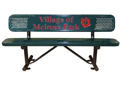 logo bench custom two color perforated logo bench commercial site
