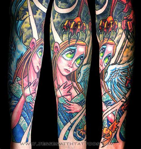 New School Angel Tattoo | angel half sleeve by jesse smith tattoonow