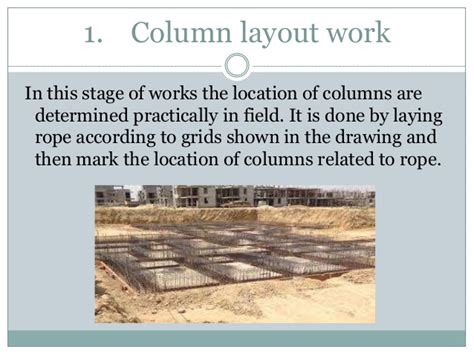 column layout work construction process column beam slab