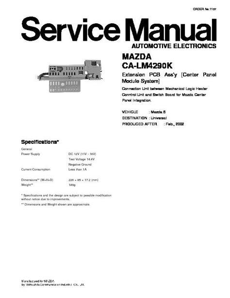 service manual free car manuals to download 2002 mercedes benz m class parking system panasonic ca lm4290k service manual view online or download repair manual