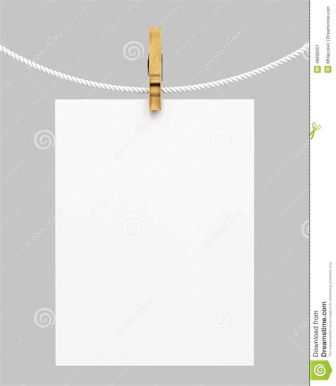How To Make Hanging With Paper - white paper hanging on rope with clothespin stock