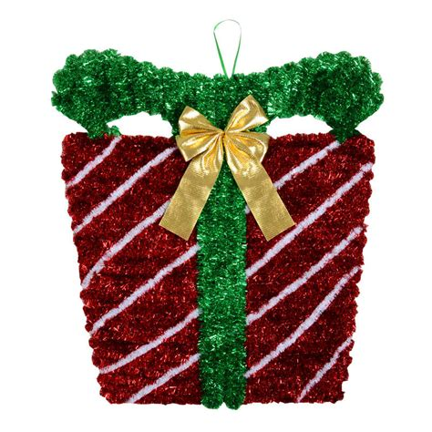 large tinsel christmas present decoration new