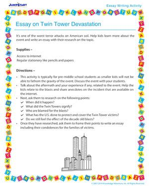 Towers Essay by Essay On Tower Devastation Essay Writing Activity For Middle School Jumpstart