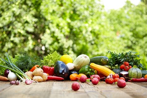 Fresh Organic Vegetables Ane Fruits On Wood Table In The Garden Fruits And Vegetables