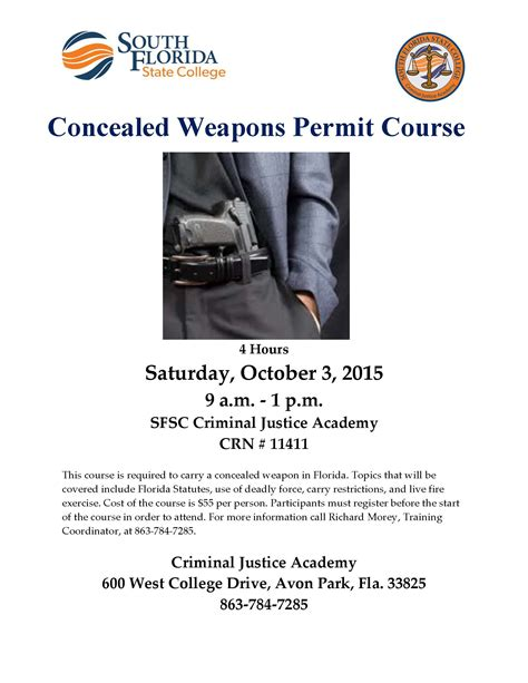 concealed carry permit concealed weapons permit course south florida state college