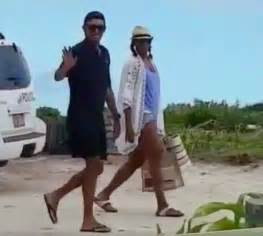 Obama Vacation barack and michelle obama look happy at necker island