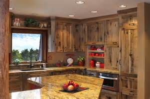 Rustic farmstead hickory reclaimed patina farmhouse kitchen