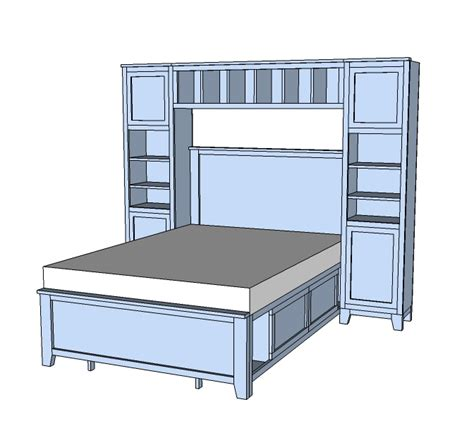 Free Bookcase Headboard Plans Ana White Hailey Towers For The Storage Bed System Diy