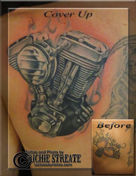 harley engine tattoo designs harley davidson evo motor cover up by