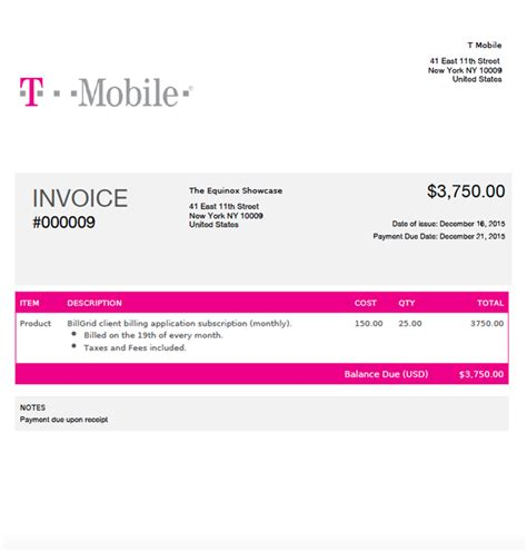 mobile invoice template custom theme invoices for your business billgrid