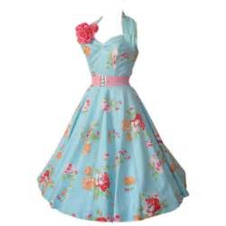 1950s halter rose garden blue dress by vivien of holloway thisnext