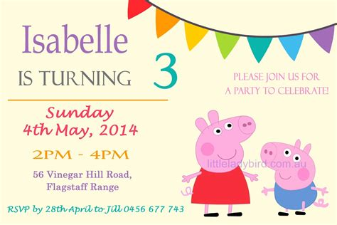 peppa pig party invitation template www imgkid com the