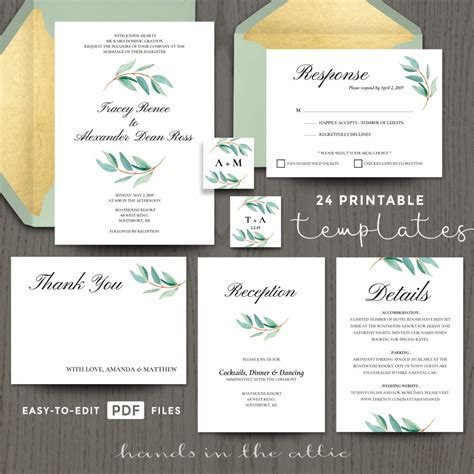 eucalyptus wedding invitation templates hands   attic