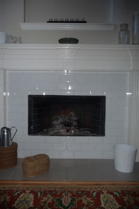 White Subway Tile Fireplace by Miscellaneous
