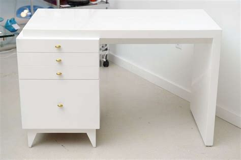 Marvelous Modern White Lacquer Desk White Storage Desk
