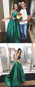 2017 prom dress two piece prom dress long prom dress hunter green