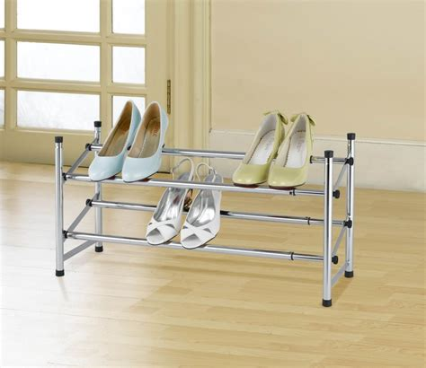 hdx 2 tier expandable shoe rack chrome the home depot canada