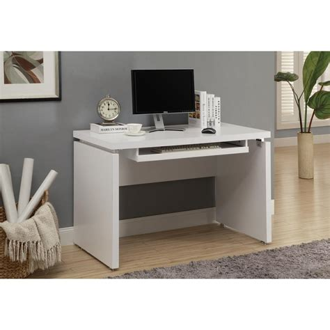 Monarch White Desk by Monarch Specialties Matte White Desk With Keyboard Tray I