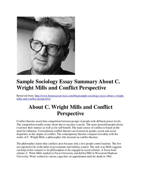 Conflict Theory Essay by Sle Sociology Essay Summary About C Wright Mills And Conflict Per