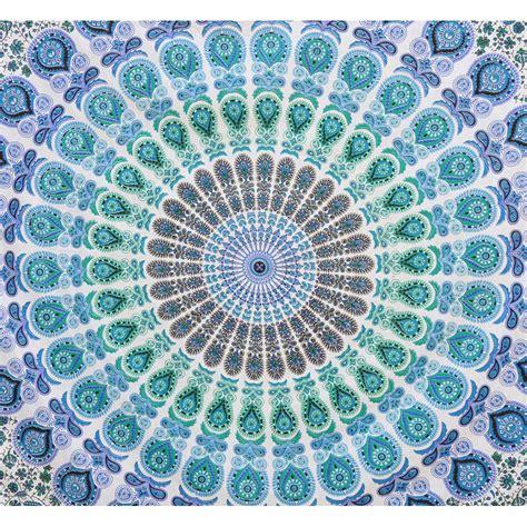 Light Blue Tapestry by Indian Orange Blue Mandala Size Boho Wall Bedding