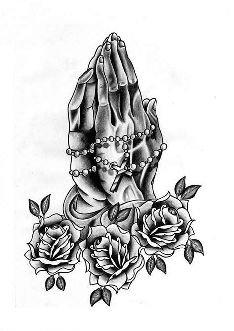 praying hands with rose tattoo and rosarie by jmcquade111 on deviantart