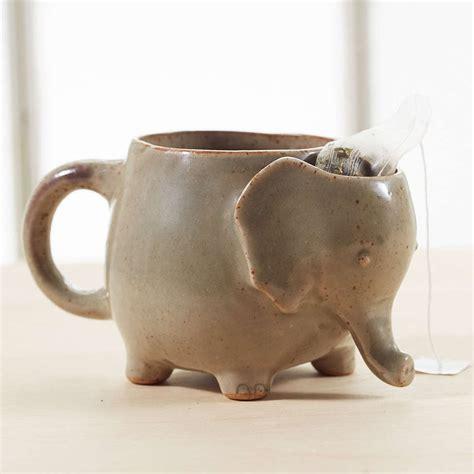 elephant design mug elephant tea mug with tea bag holder the green head