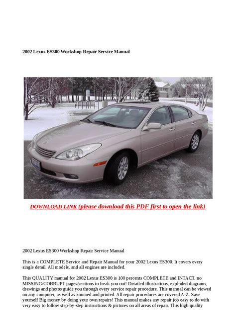 manual repair free 2002 lexus is auto manual 2002 lexus es300 workshop repair service manual by