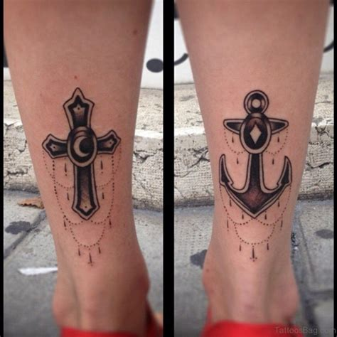55 antic cross tattoos for leg