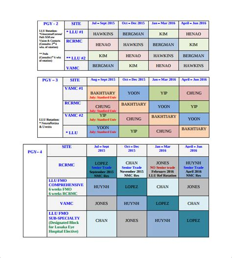 sample rotation schedule template 15 free documents in