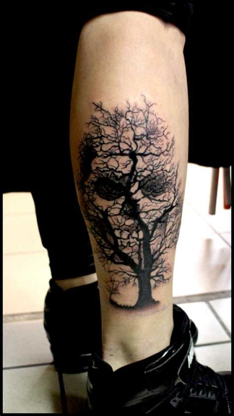 scary tree tattoo designs black scary tree with skull on leg by raf ethno